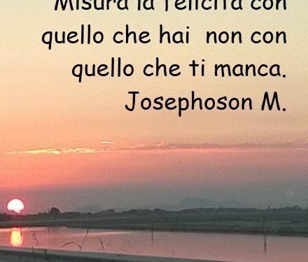 Misura la felicità con quello che hai  non con quello che ti manca.  M. Josephoson