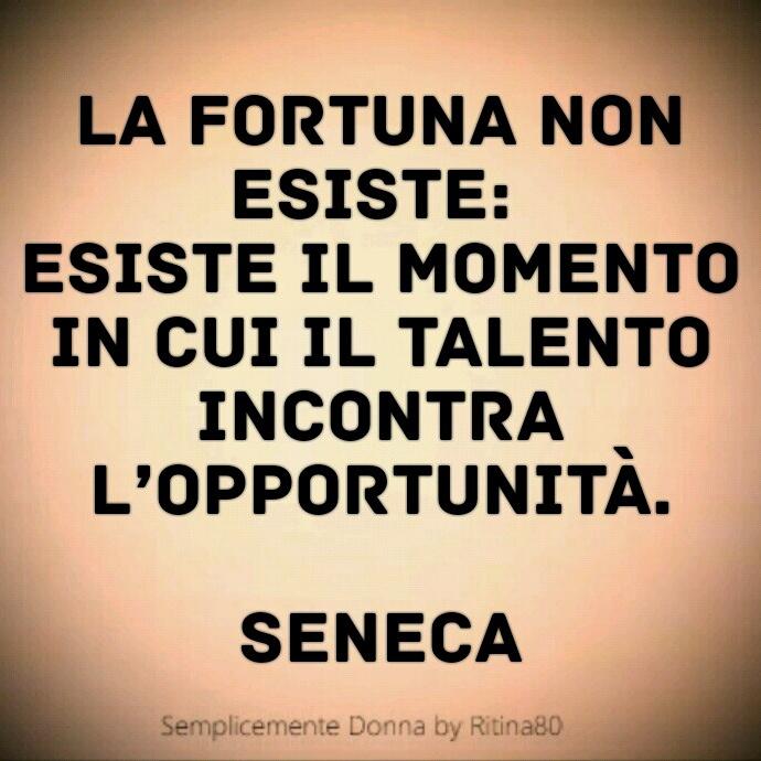 La fortuna non esiste: esiste il momento in cui il talento incontra l'opportunità. (Seneca)
