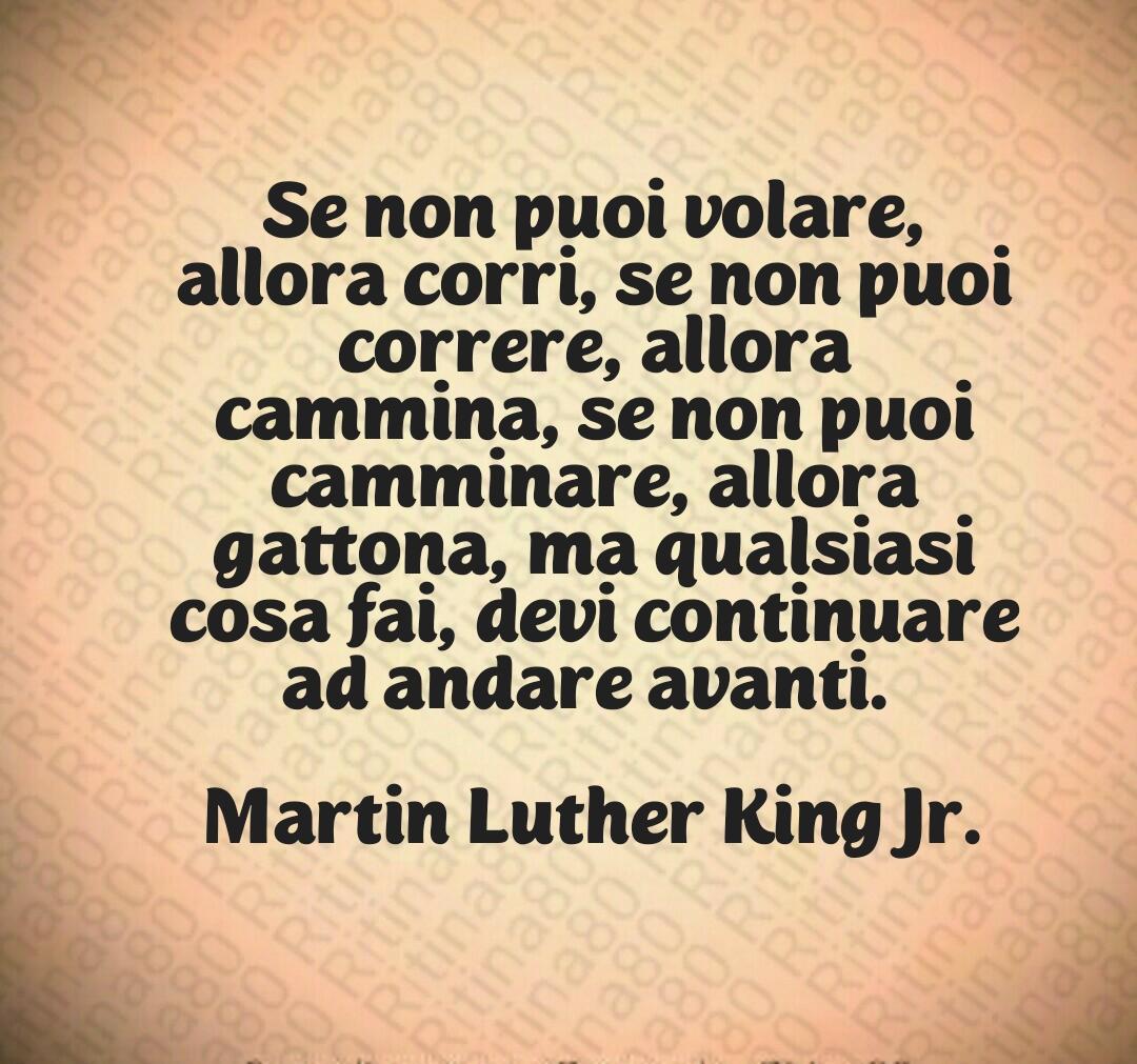 Se non puoi volare, allora corri, se non puoi correre, allora cammina, se non puoi camminare, allora gattona, ma qualsiasi cosa fai, devi continuare ad andare avanti.  🔥✨  Martin Luther King Jr