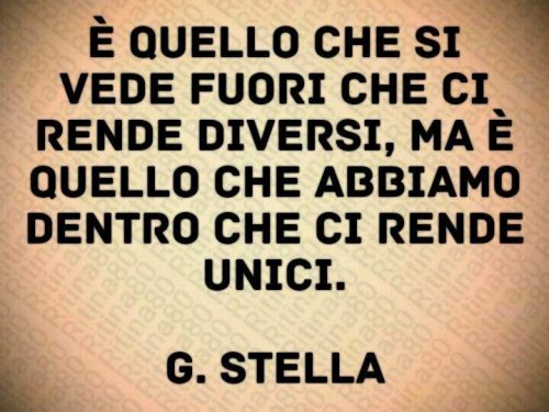 È quello che si vede fuori che ci rende diversi, ma è quello che abbiamo dentro che ci rende unici.  G. Stella