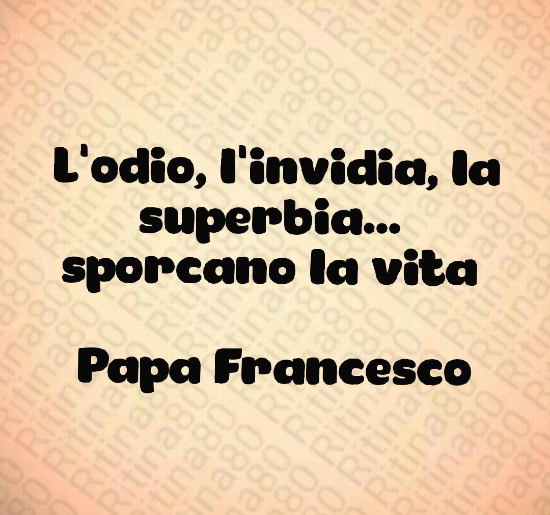 L'odio, l'invidia, la superbia...  sporcano la vita   Papa Francesco